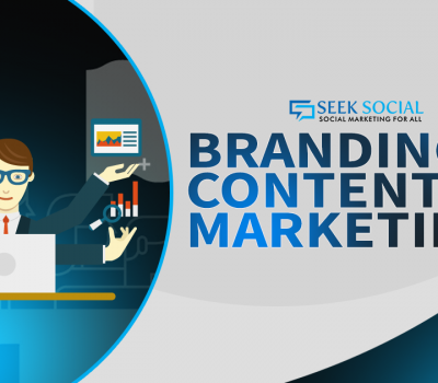 """A cartoon image of a person with a laptop in front of him and has analytics tools in his hands with blue text to the right of him reading """"Branding and content marketing"""""""