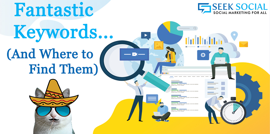 """A colourful image with a picture of a team working on marketing and analytics with text reading """"Fantastic keywords and where to fin them"""" Need Seo in bury blog"""