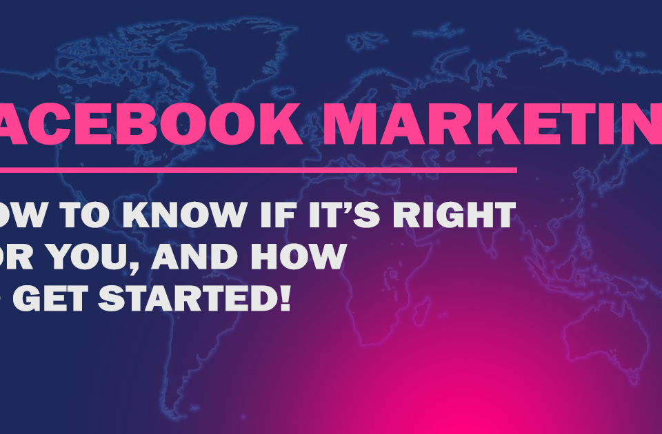 """A flat image of the world with text on top reading """" Facebook Marketing, How to know if it's right for you and how to get started"""""""