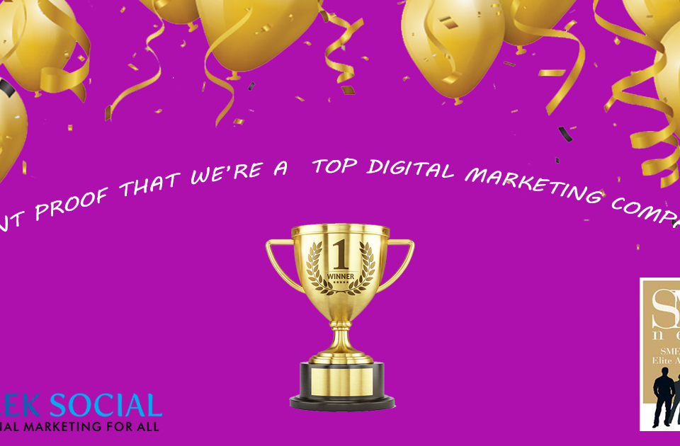 """A picture of a purple background with some golden balloons on the top of the image and a golden trophy in the middle with text above the trophy reading """"want proof that we're a top digital marketing company?"""""""