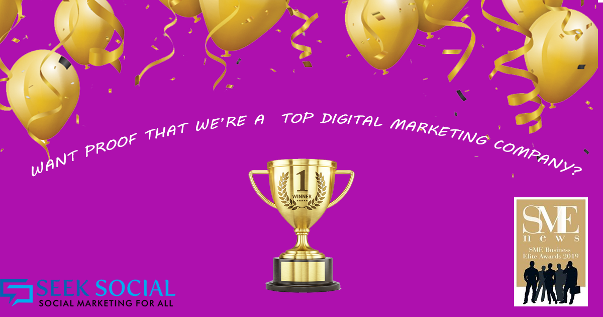 "A picture of a purple background with some golden balloons on the top of the image and a golden trophy in the middle with text above the trophy reading ""want proof that we're a top digital marketing company?"""