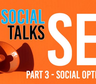 """An image of a orange background with a megaphone near the bottom left corner and some text around it reading """"Seek Social talks SEO. Part 3 - Social optimisation"""""""