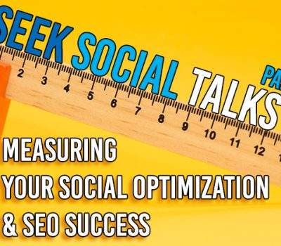 """An image of a ruler balancing on a rubber with some text reading """"measuring your social optimisation and SEO success"""""""