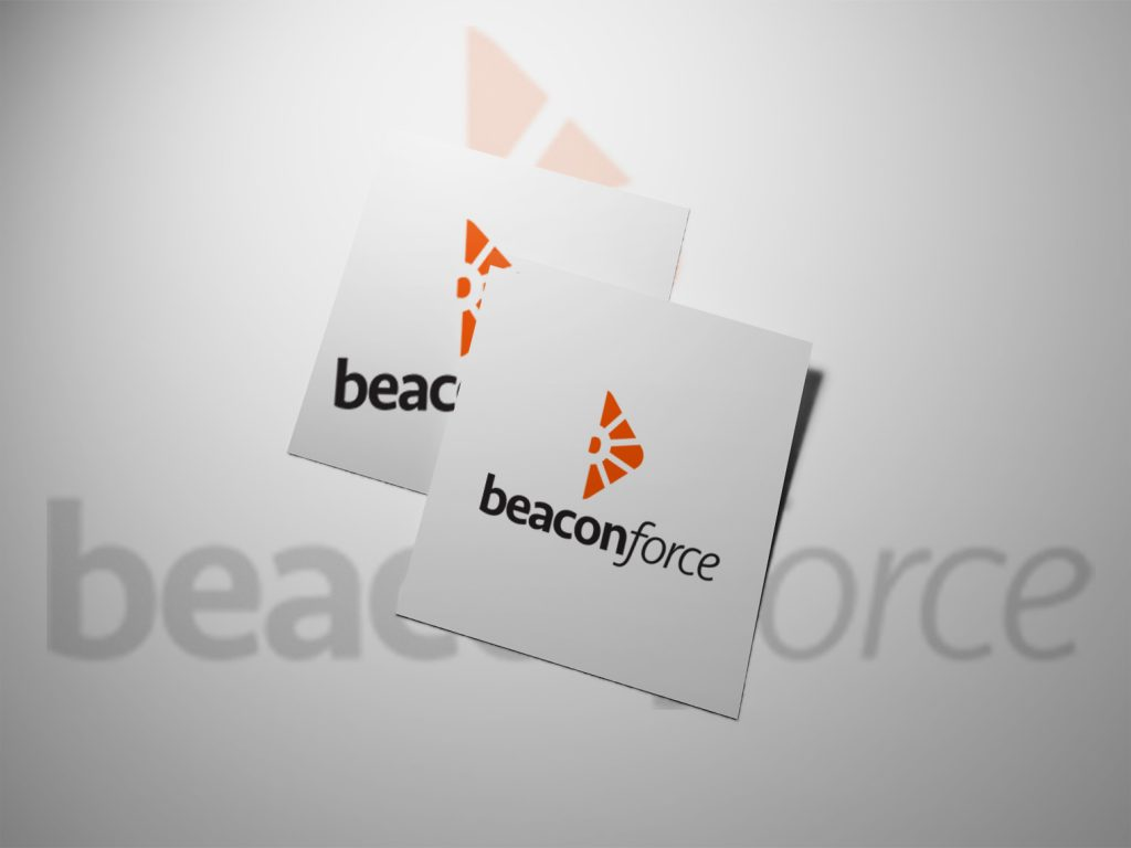 An image of two pieces of white paper with the beaconforce logo being shown