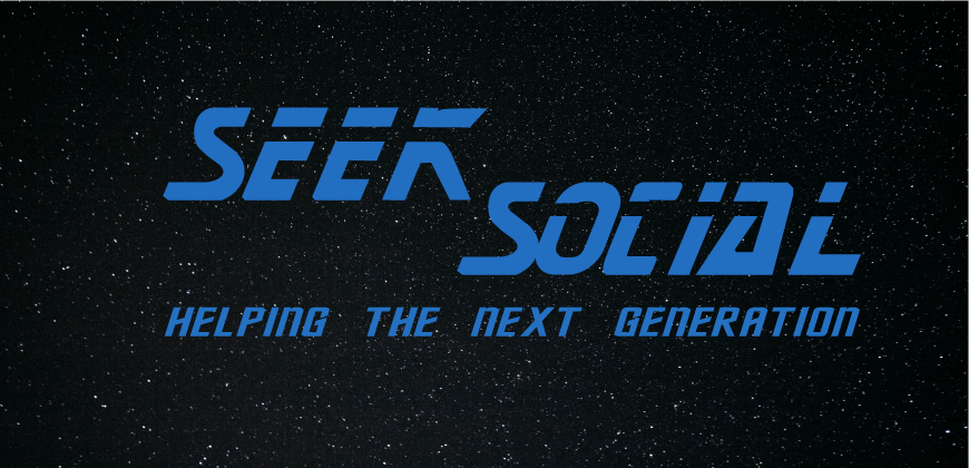 A starry background, black with white speckles (stars). The foreground is a broken, light blue Block capital text of SEEK SOCIAL. Underneath, in the same colour but full words reading the next generation.