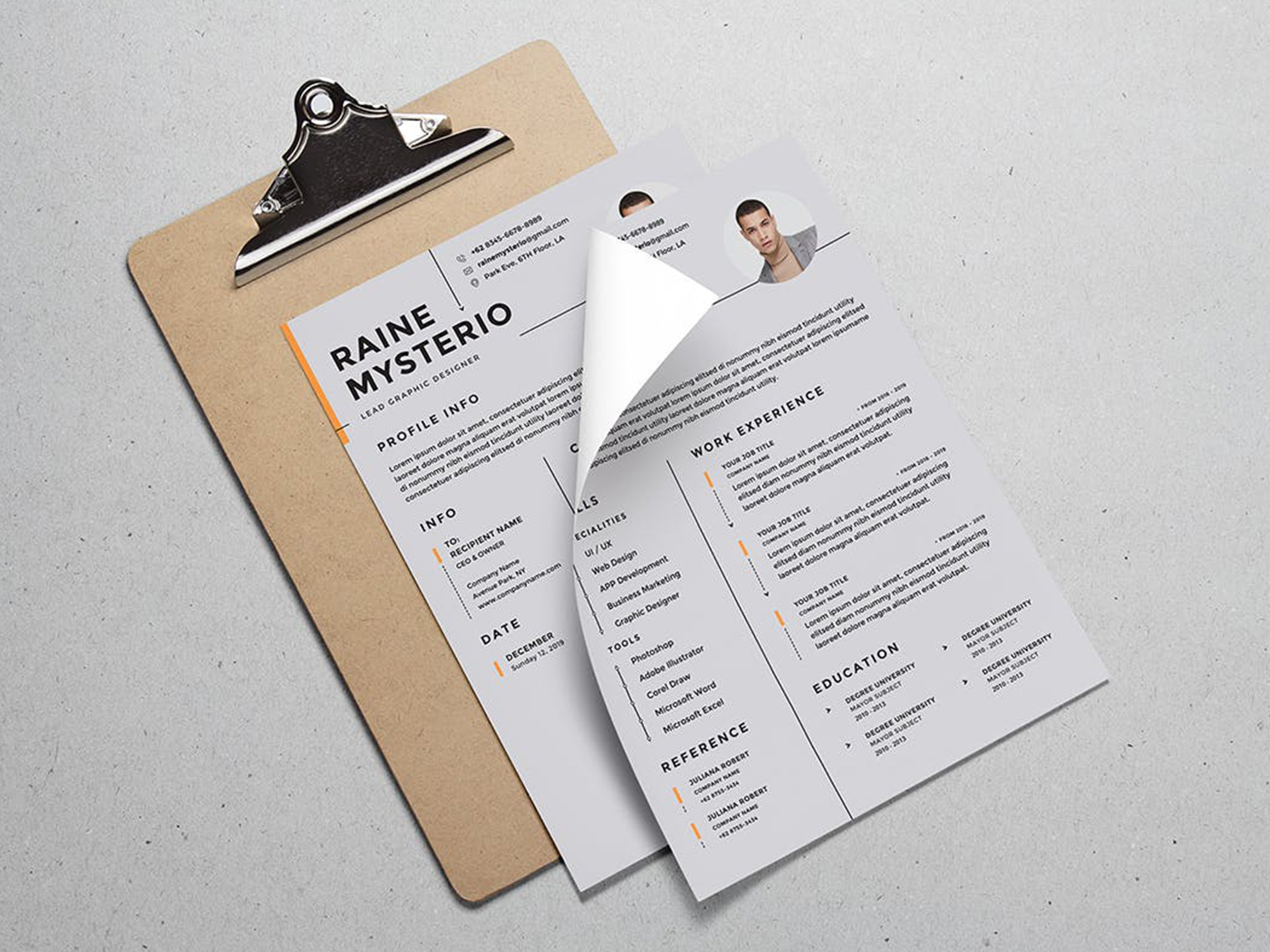 A brown clipboard that is on a grey table and a CV, with a name and different sub categories for different important aspects of a CV (e.g. contacts, work experience, Info ETC.) on top of the clip board