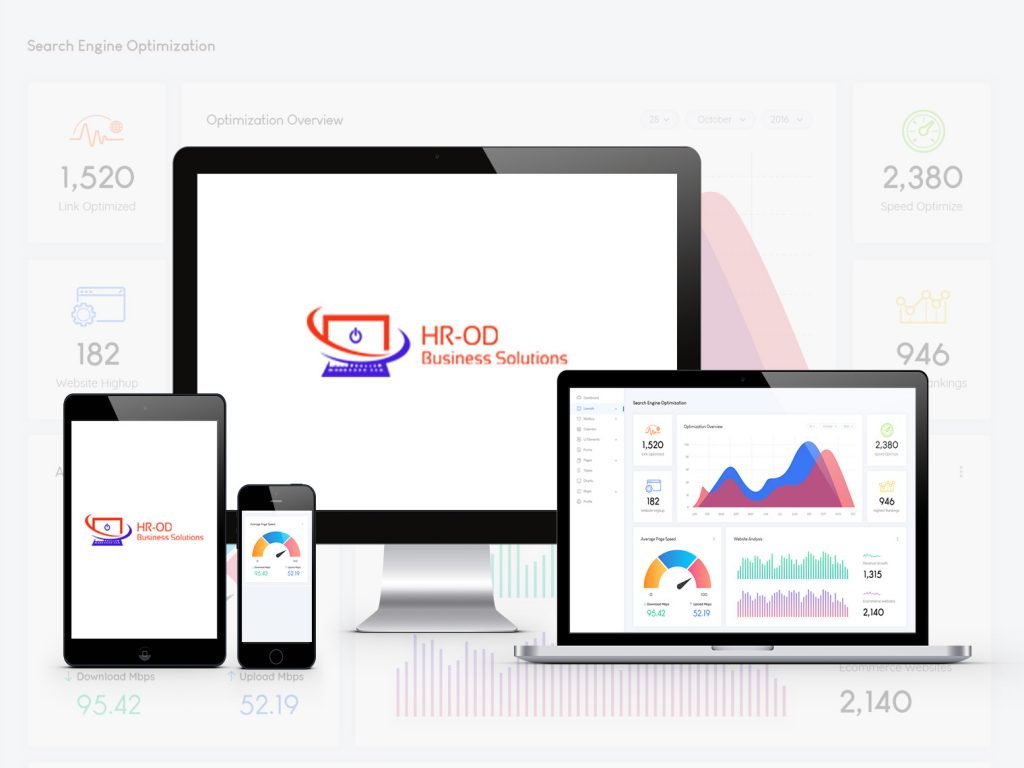 An image of four Apple products are stood across the screen, which has a background, which is the same as what is displayed on the laptop (right). The laptop shows an analytics web page with a wave (frequency) graph central with two graphs. Blue and red. On the left hand side of this is a heart rate-looking monitor, which is orange, with an orange number underneath. 1,520. A calendar with a cog (blue) is underneath and the number 182 is under this. OIn the right hand side, set out very similar, is a green clock with the number 2,380 underneath and unfderneath is a yellow, crown-looking line graph with a number of 946 underneath. On the under-half it is split. THe smaller right hand side has a proggression, wheel (half) split into thirds. Yellow, Blue and Red (left-to-right). THe arrow points at the red and underneath the red is a blue number 52.19 and underneath the yellow is a green number reading 95.42. This is, also, shown on the phone, second on the left. Next to the meter is a bar graph, a green is above a purple and they are skinny, tracking data. Next to the green chart is the number 1,315 and next to the purple is 2,140. On the desktop screen, next toi the laptop and mobile, is the HR-ODlogo , and blue/red logo, also shown on the tablet, far left.