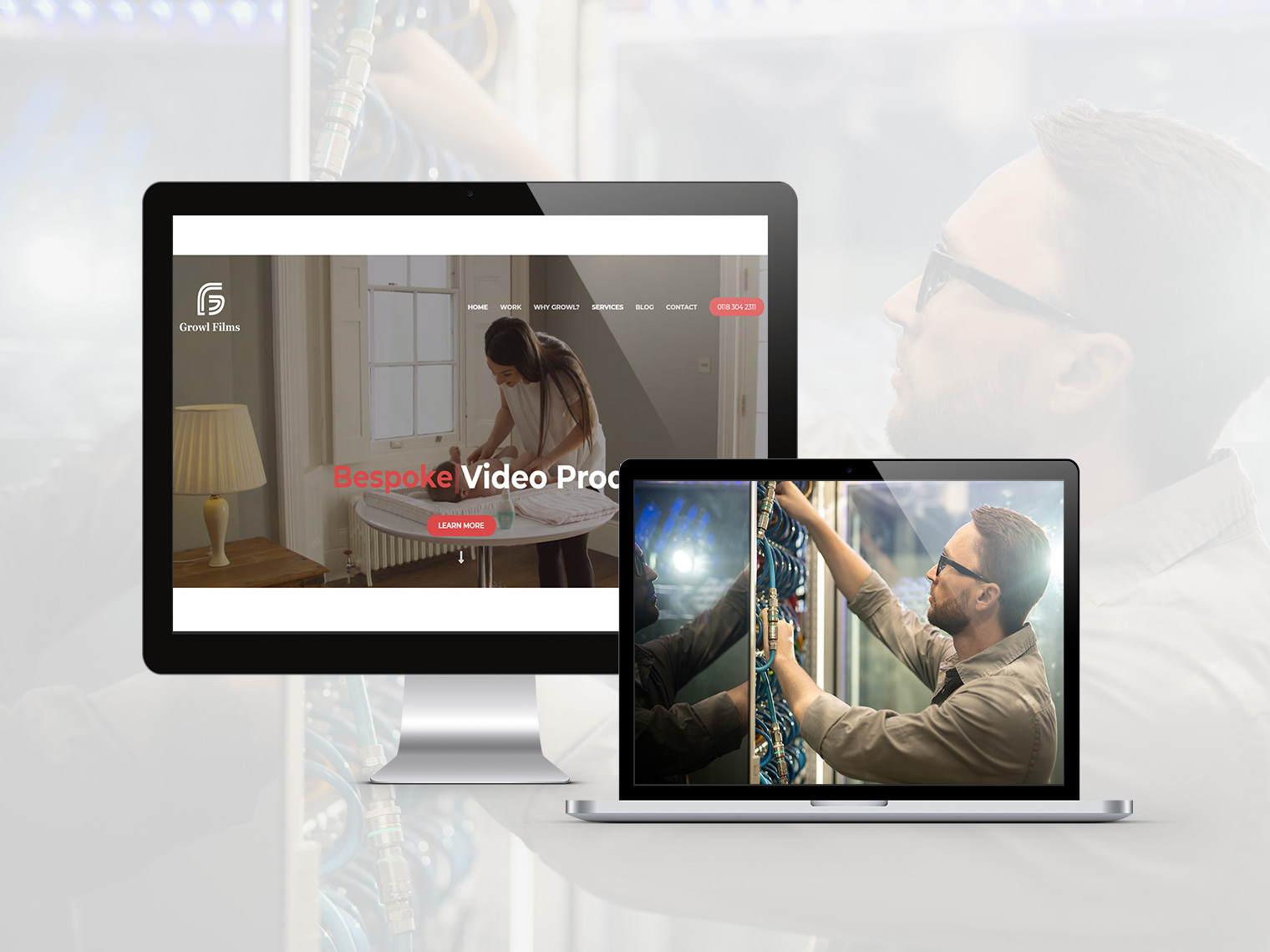 An image of two Apple devices displaying the growl films hosting home page on one device and a picture of a person interacting with some cables in another