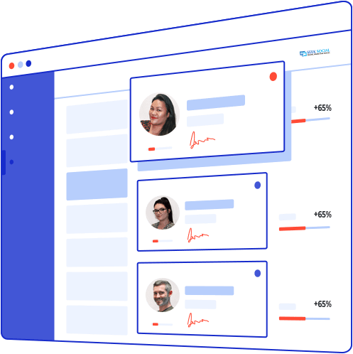 An animated image of the seek social website with ID cards on the page. The three ID cards have pictures and are signed underneath. The top ID card is white, the rest being transparent and next to all cards is a red loading symbol with a figure of +65% next to them.