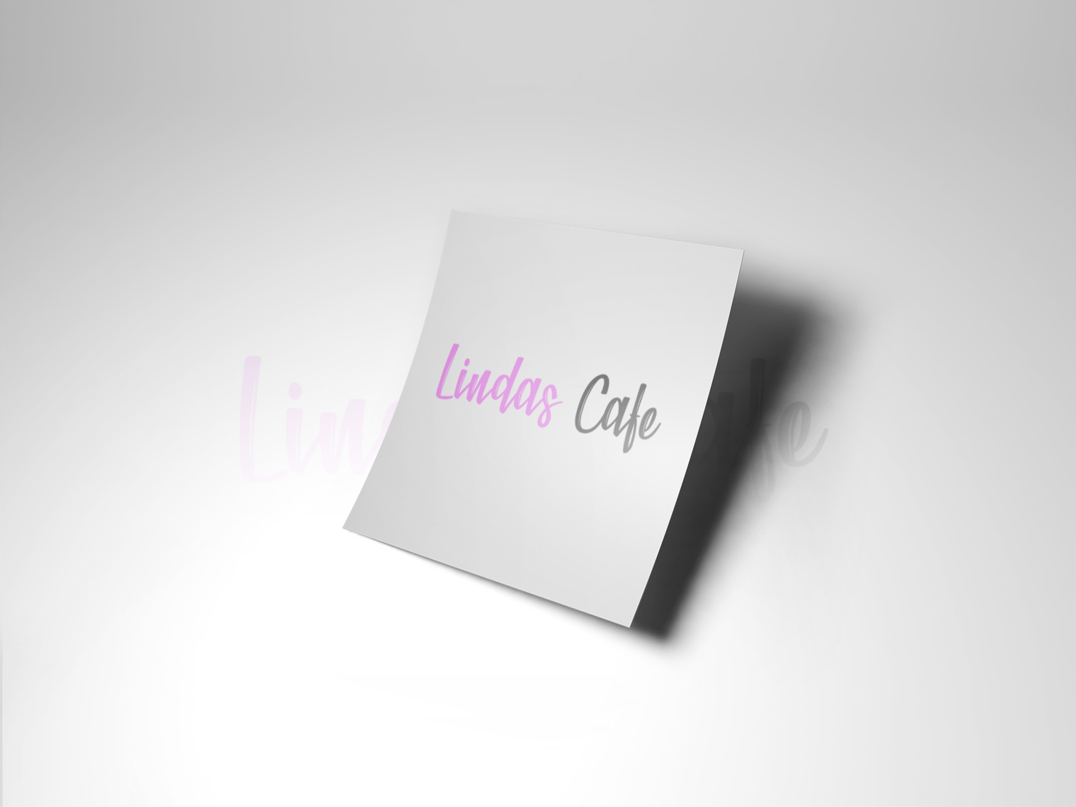 An image of white paper with the lindas cafe logo on it in the middle
