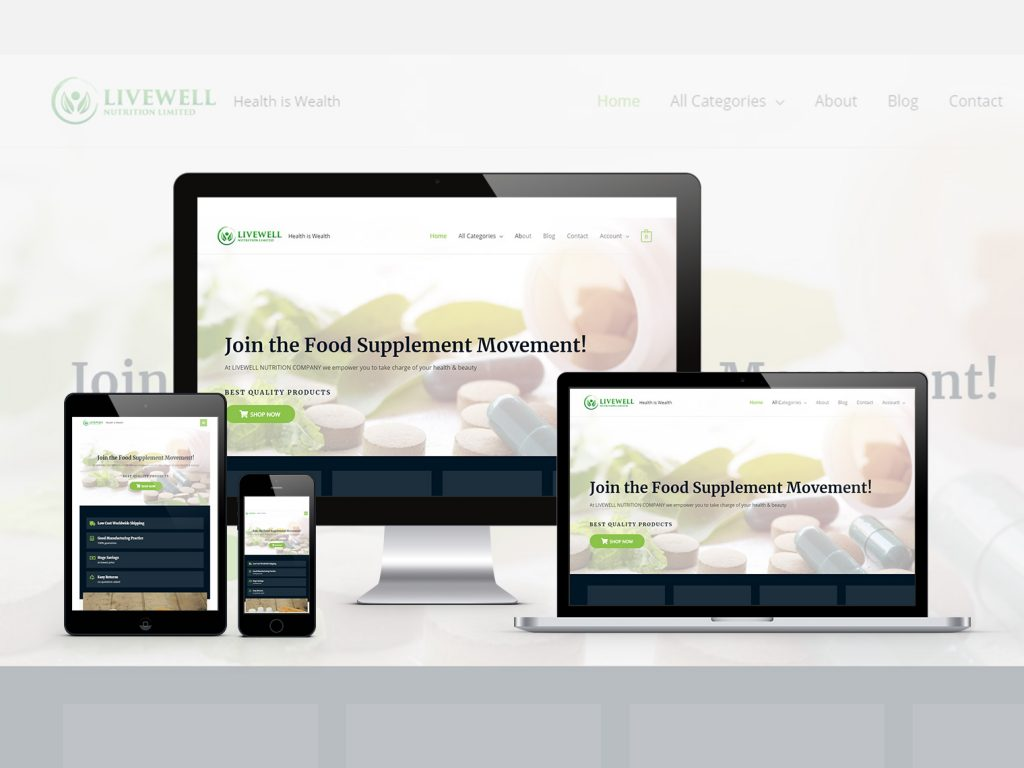 Four Apple devices are displaying livewell nutrition's home page