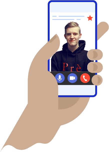An animated image of a phone with a picture of a member of the Seek Social team