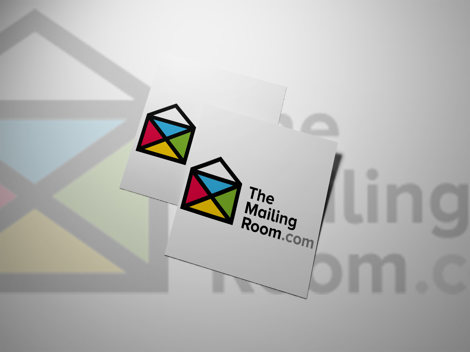 An image of two pieces of white paper that have The Mailing Room logo on both papers