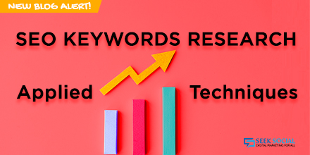 A bar chart and line graph, both trending upwards, surrounded by text reading 'SEO Keyword Research: Applied Techniques'
