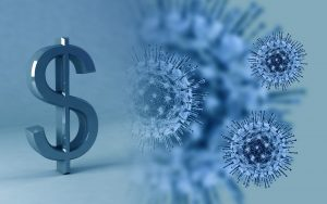a close-up of the coronavirus bacteria on the left and a dollar sign on the right, presented in shades of blue