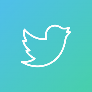 a white outline of the Twitter bird, against a cyan and sky blue gradient.