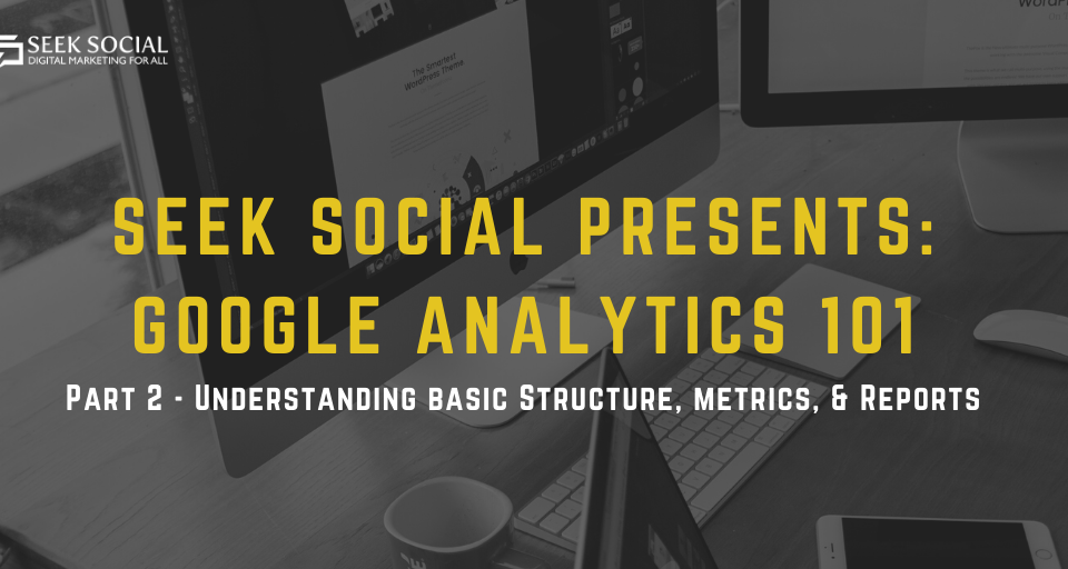 a monochrome background of 2 mac monitors, a laptop and a phone behind text reading 'Seek Social Presents: Google Analytics 101 Part 2'