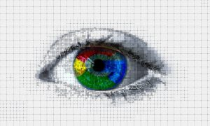 a greyscale image of a human eye, with a semi-transparent Google 'G' logo placed over the iris.