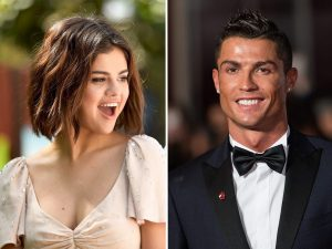 Split image with a laughing Selena Gomez on the left and Cristiano Ronaldo on the right.