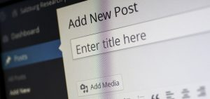 Close up of the top of the WordPress post creation screen, with the words 'Add New Post' clearly visible.