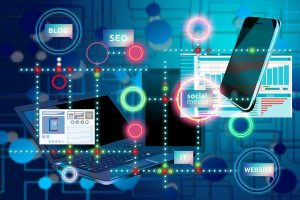 A collage of various things website optimisation experts can use for SEO or devices that can desplay the internet, linked together with various lines and on a blue background