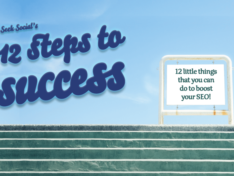 a set of stairs with a sign at the top reading '12 little things that you can do to boost your SEO'.