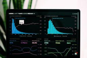 A computer monitor displaying various graphs and charts relating to web analytics