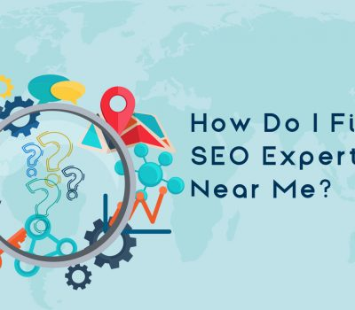 a magnifying glass enlarging 3 question marks, next to text reading 'how do I find an SEO expert near me?'