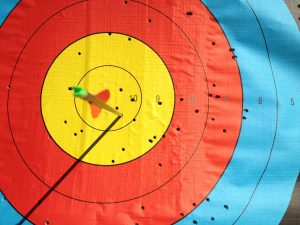 A close-up of an archery target, an arrow lodged firmly in the bullseye.