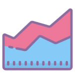 area chart icon with transparent background