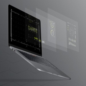 An open laptop with the information on screen presented in an 'exploded' view over multiple layers