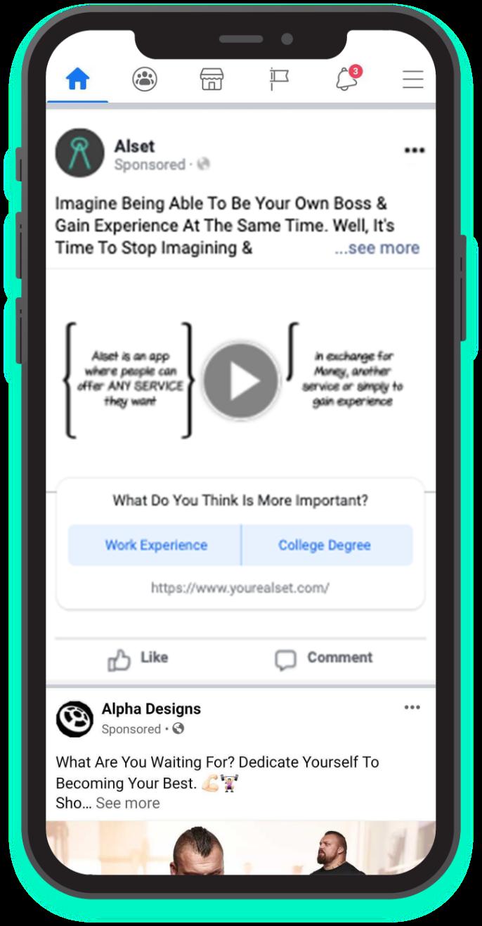 Alset Facebook post on mobile phone