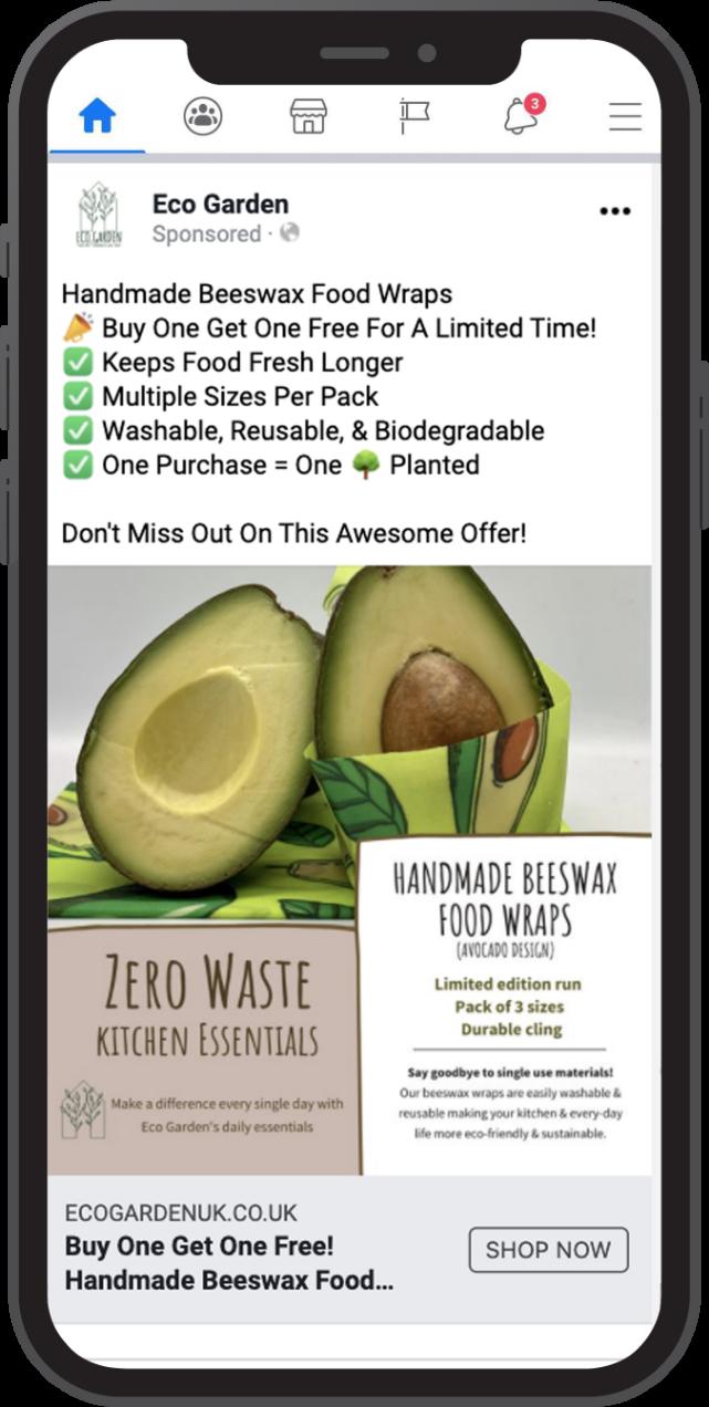 Eco garden Facebook ad beeswax food wraps