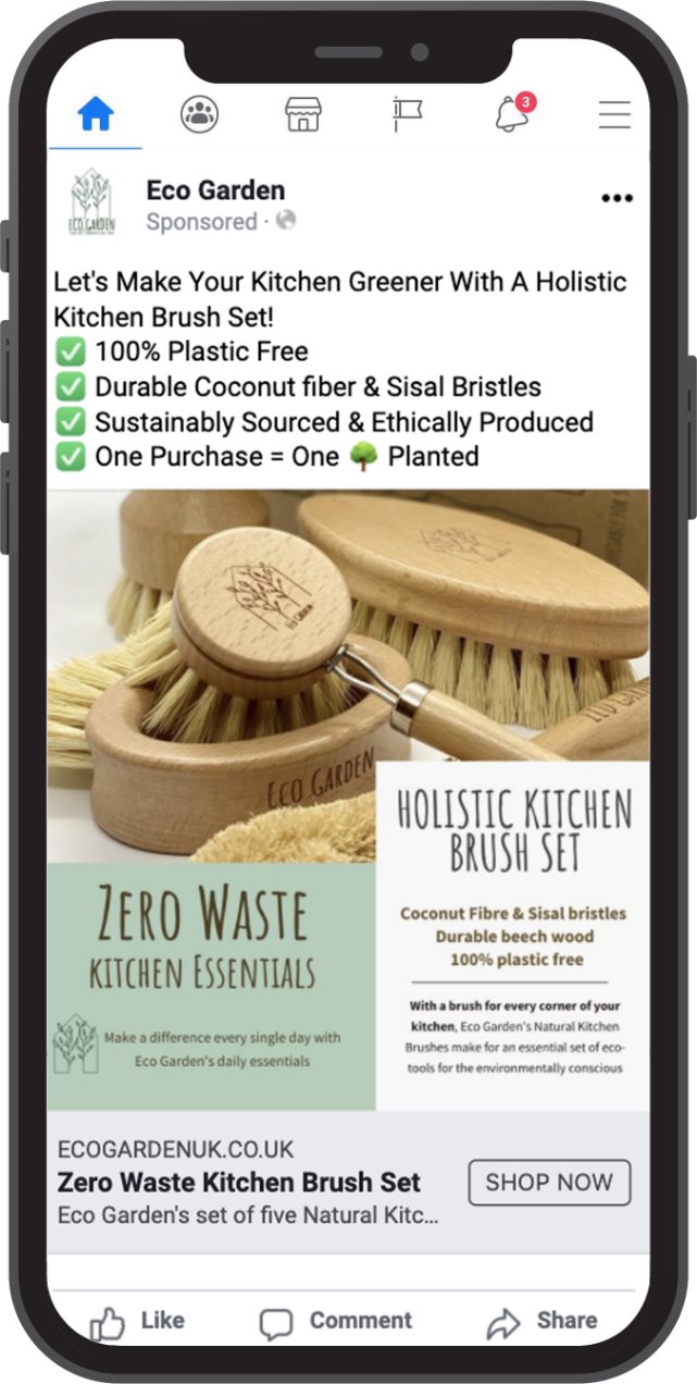 Eco garden Facebook ad on mobile phone advertising how environmentally safe they are to use