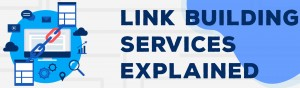 a collage style image featuring I.T devices and chain links, to the left of text reading 'link building services explained'
